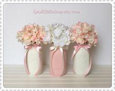 Pink & White Wedding Decor-Baby Shower Decor-Bridal shower Centerpieces-Spring Decor-Vintage Decor-Easter Decor-Shabby Chic Decor by EandSlittleShop on Etsy