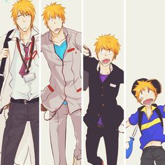 Ichigo, cute, cuter, somewhat awkward, hot << oh my gawds Ichigo grows up to take over his dad's clinic, he is now the abrasive and clumsy (but caring) Sensei character in the next manga you read....