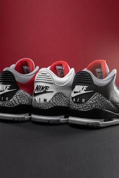 Shop Air Jordan 3 at Stadium Goods Nike Air Shoes, Nike Air Jordans, Air Jordan 3, Air Jordan Shoes, Jordan 3 White Cement, Jordans Outfit For Men, Jordan Shoes Wallpaper, Fresh Shoes, White Nikes
