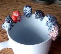 Customizable tea bag holder oMamaWolf ceramic figurine