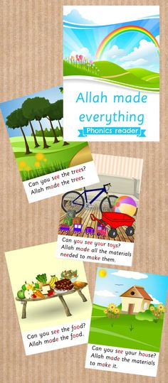 Phonic reader for Muslim kids - practice reading whilst learning that Allah made everything! (free) to view online or print!