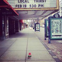 Poe goes to the Landmark Theater #gnomes #poethecowleybloggnome #travelgnome #cowley