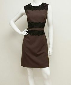 Look what I found on #zulily! Taupe & Black Lace Sleeveless Dress by Voir Voir #zulilyfinds
