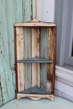 Hanging Corner Shelf  Home Decor  Hanging  Old by honeystreasures, $150.00