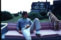 Bush Sr. Looking like a member of Vampire Weekend in his polo shirt, khakis and boat shoes.