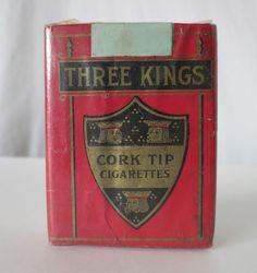 THREE KINGS CORK TIP VINTAGE CIGARETTES PACK, THE AMERICAN TOBACCO CO. #THREEKINGS