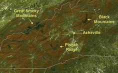 Fall Color From Space North Carolina Mountains, Western North Carolina, Ashville Nc, America America, Black Mountain, Great Smoky Mountains, Asheville, Fun Facts, Space