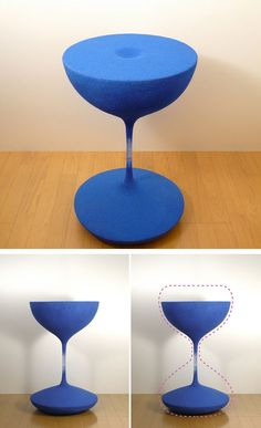 Falling Sands Hourglass Table by Shinobu Koizumi. Sand particles are formed by epoxy resin, with a wooden plate under the sand surface so it is fully functional as a table top.