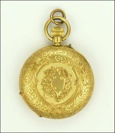 Antique Circa 1900 Swiss 18K Gold Demi-Hunter Fob Watch found on Ruby Lane
