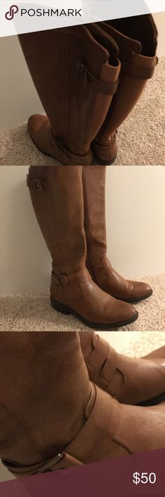 Light Brown Rider winter boots Light brown faux leather rider boots with brass buckle and strap. Barely used. Wide-calf size 6. Baretraps Shoes Heeled Boots