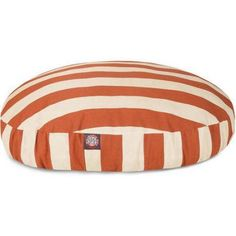 Majestic Pet Products Vertical Stripe Round Outdoor Indoor Pet Bed Removable Cover, Orange