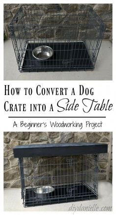 DIY Dog Crate Table Topper - DIY Danielle® This metal dog crate was an eyesore in the family room, but with a few and some plywood this c Dog Crate End Table, Crate Bed, Diy Dog Crate, Large Dog Crate, A Table, Large Dogs, Puppy Crate, Metal Dog Kennel, Diy Dog Kennel