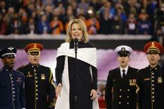 Renee Fleming sings National Anthem in Super Bowl in Simply Stunning Cream Wrap over Understated Elegant Black Dress