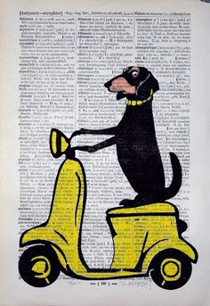YELLOW VESPA, original ARTWORK, mixed media, illustration, painting