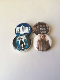 "Doctor Who Inspired ""Bad Wolf Pack"" Pin/Pinback Button Set of 4 Buttons by GeektasticCreations on Etsy https://www.etsy.com/listing/258830920/doctor-who-inspired-bad-wolf-pack"