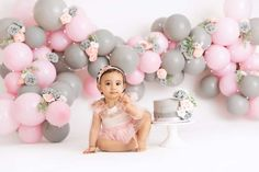 1st Birthday Photoshoot, 1st Birthday Party For Girls, Girl Birthday Decorations, Baby First Birthday, Diy Birthday, Birthday Girl Pictures, First Birthday Photos, Smash Cake Girl, Birthday Cake Smash