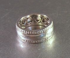 Sterling Cigar Band Ring Scrolling Filigree Open Work Show me