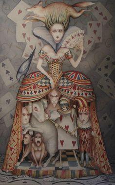Alice In Wonderland Art Original Painting The Queen of Hearts Dominic Murphy