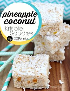 Pineapple Coconut Krispie Squares! This is a super fun (and delicious) twist on a typical Rice Krispie Square!