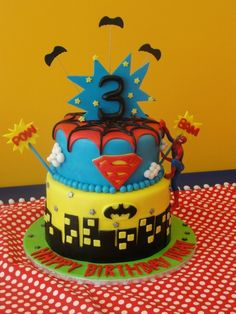 Super hero cake spider man, super man and bat man. There it is Tashia and Jayla this is for sure your cake for next year!