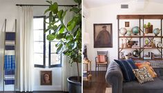 fiddle fig, black painted window frames, ivory window panels with iron rod and rings, iron ladder with blue and white textiles, painting under the window