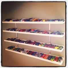 Hot Wheels car display.