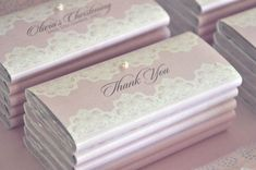 """Personalised chocolates - from """"Lace and Pearls"""" Christening Dessert Table by Once Upon A Table Events"""