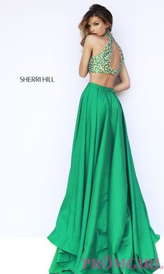 Image of Long Halter Two Piece Dress Sherri Hill  Style: SH-32020 Back Image