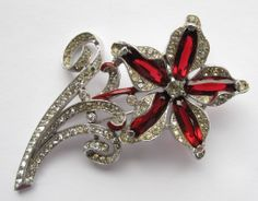 Trifari  Huge Red Rhinestone Flower Pin Alfred Philippe Patent 1941