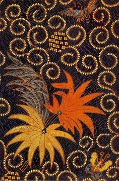 Batik is a traditional Indonesian cloth dyeing technique. Typically with intricate patterns. We love the intricacy of the artwork and in this piece, the interplay of the colors