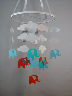 Elephant and Cloud Mobile in Blues, Orange and White