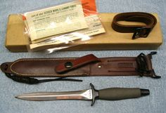 It has the original box, all papers and the optional leg strap. Gear Bear, Gerber Knives, Trench Knife, Bear Grylls, Combat Knives, Military Weapons, Cold Steel, Assassin, Bowie