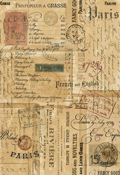 Card Ideas Discover Printable Ephemera Parisian Script Signage Vintage Stamps & Correspondance - ATC Digital Collage Sheet for Papercraft- pdf - jpg - png Papel Vintage, Vintage Stamps, Vintage Ephemera, Vintage Paper, Vintage Clip Art, Scrapbooking Diy, Sketchbook Layout, Sketchbook Ideas, Printable Scrapbook Paper