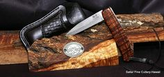 Handcrafted folding knife with belt holster sheath and Hawaiian koa wood handle by Salter Fine Cutlery