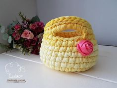 T-shirt yarn handbag/basket recycled fabric yarn by Lulaor on Etsy