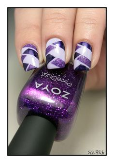 Purple striping tape braid nail art with tutorial