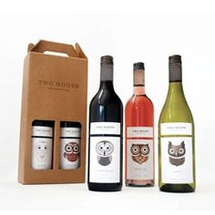Adorable owl inspired wine packaging for Two Hoots.