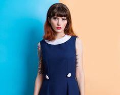 Navy blue mod Peter pan collar dress flower  bishop mod 1960s dress