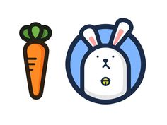 Bunny & Carrot by zhaodaya Logo Character, Character Design, Sea Rabbit, Carrot Drawing, Rabbit Icon, Icon Design, Logo Design, Rabbit Drawing, Bunny Logo