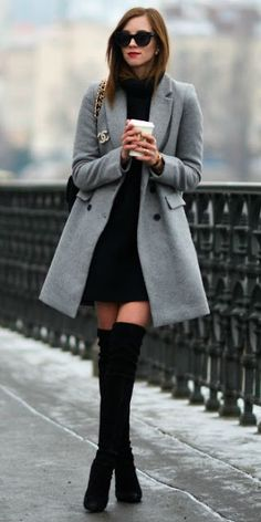 Just a pretty style | Latest fashion trends: Winter chic | Black dress, grey coat and over the knee boots