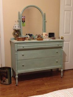 Antique dresser - Duck Egg with little Old White the Clear wax Annie Sloan Chalk Paint.