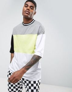 ASOS Oversized T-Shirt With Neon Color Blocking & Mis-Match Sleeves