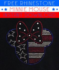 We are giving away a free Minnie Mouse American Flag rhinestone template digital download. This file is for personal use only.