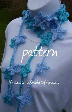 Star Lariat Scarf PATTERN Crochet Skinny Scarf Bunting | Etsy Half Double Crochet, Single Crochet, Bunting, Pdf Patterns, Crochet Patterns, Star Garland, Skinny Scarves, Shades Of Red, Slip Stitch