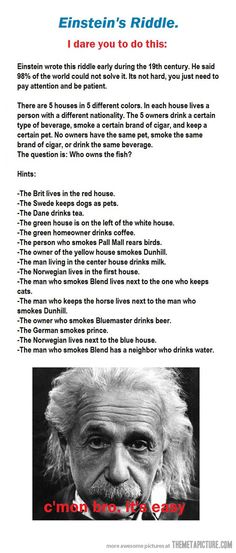 Einstein's Riddle. So I can look at this later and figure it out.