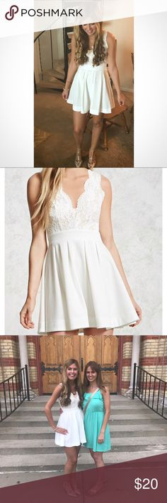 """⭐️White Lace Dress⭐️ Size medium. Worn once. Excellent condition. Beautiful lace detailing at top. A line dress. I'm 5""""7.5 and the dress fell a few inches above my knees. Forever 21 Dresses"""