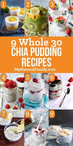 9 of the Best Ever Whole 30 Chia Pudding Recipes - My Natural Family I have the best Whole 30 Chia Pudding recipes. It's is quick and easy to make the night before and grab in the morning. A hearty breakfast with protein. Keto Chia Pudding, Chai Pudding, Pudding Recipes, Chia Pudding Breakfast, Overnight Chia Pudding, Overnight Oats, Breakfast Casserole, Recetas Whole30, Clean Eating Snacks