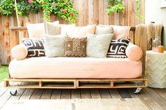 Pallet patio furniture repurposing