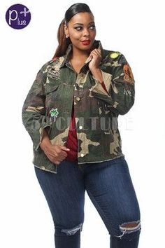 (A). PLUS SIZE MILITARY PATCH JACKET