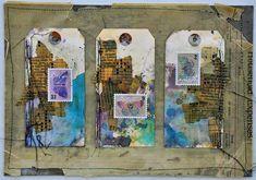 Grungy, messy mixed media art tags by Dina Wakley.